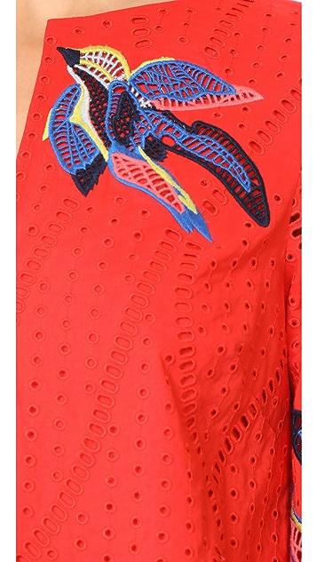 Tanya Taylor Bird Embroidered Jackie Dress