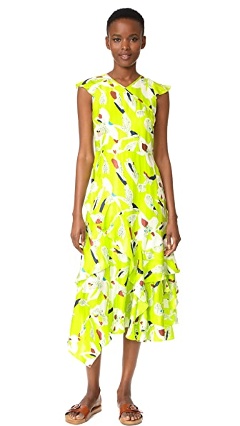 Tanya Taylor Floral Wren Dress - Lime Green