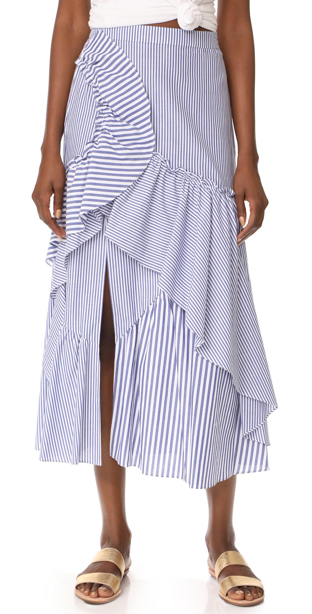 Menswear Stripe Jules Skirt Tanya Taylor