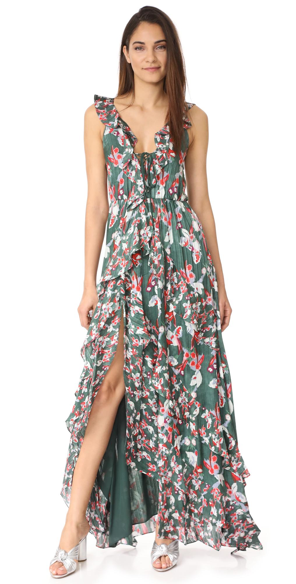 Floral Ikat Silk Stripe Oksana Dress Tanya Taylor