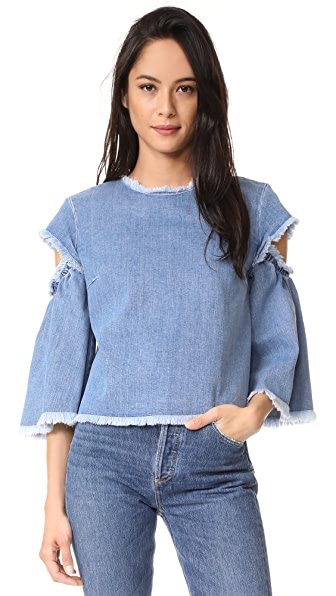 Tanya Taylor Denim Lida Top - Medium Washed Denim