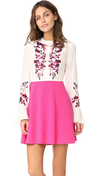 Tanya Taylor Kimono Embroidered Aidy Dress In Creme/Fuchsia