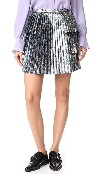 Tanya Taylor Metallic Sidra Skirt In Silver