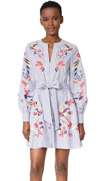 Tanya Taylor Embroidered Menswear Stripe Caro Dress
