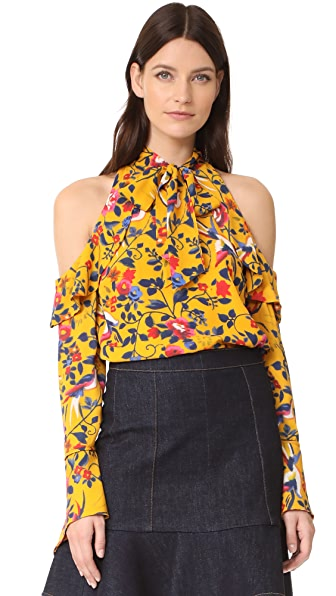 Tanya Taylor Floral Adrienne Top - Marigold