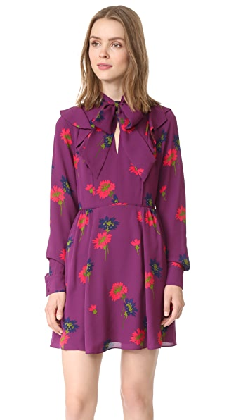 Tanya Taylor Spaced Out Floral Aubree Dress - Plum