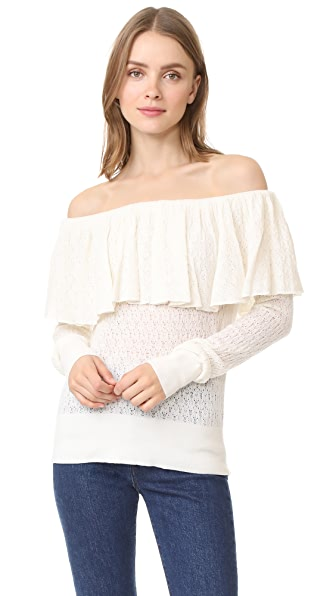 Tanya Taylor Knit Lace Sweater In Creme