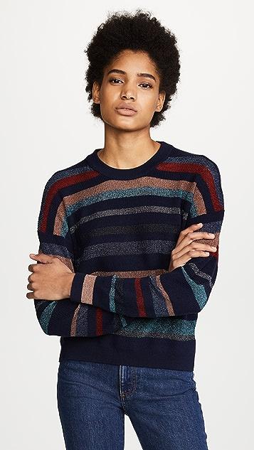 Tanya Taylor Metallic Stripe Cyn Sweater