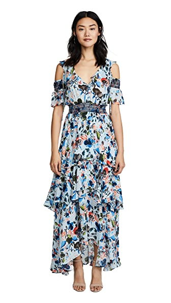 Tanya Taylor Watercolor Floral Isabelle Dress In Soft Blue
