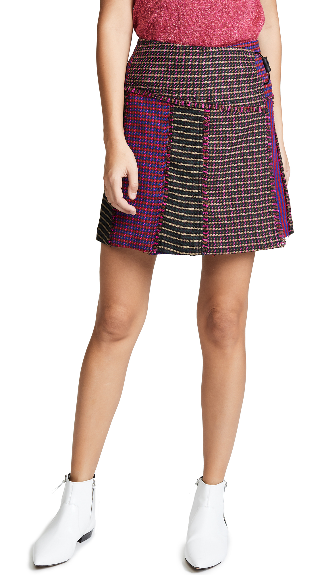 Tanya Taylor Maya Skirt In Black/Hot Pink