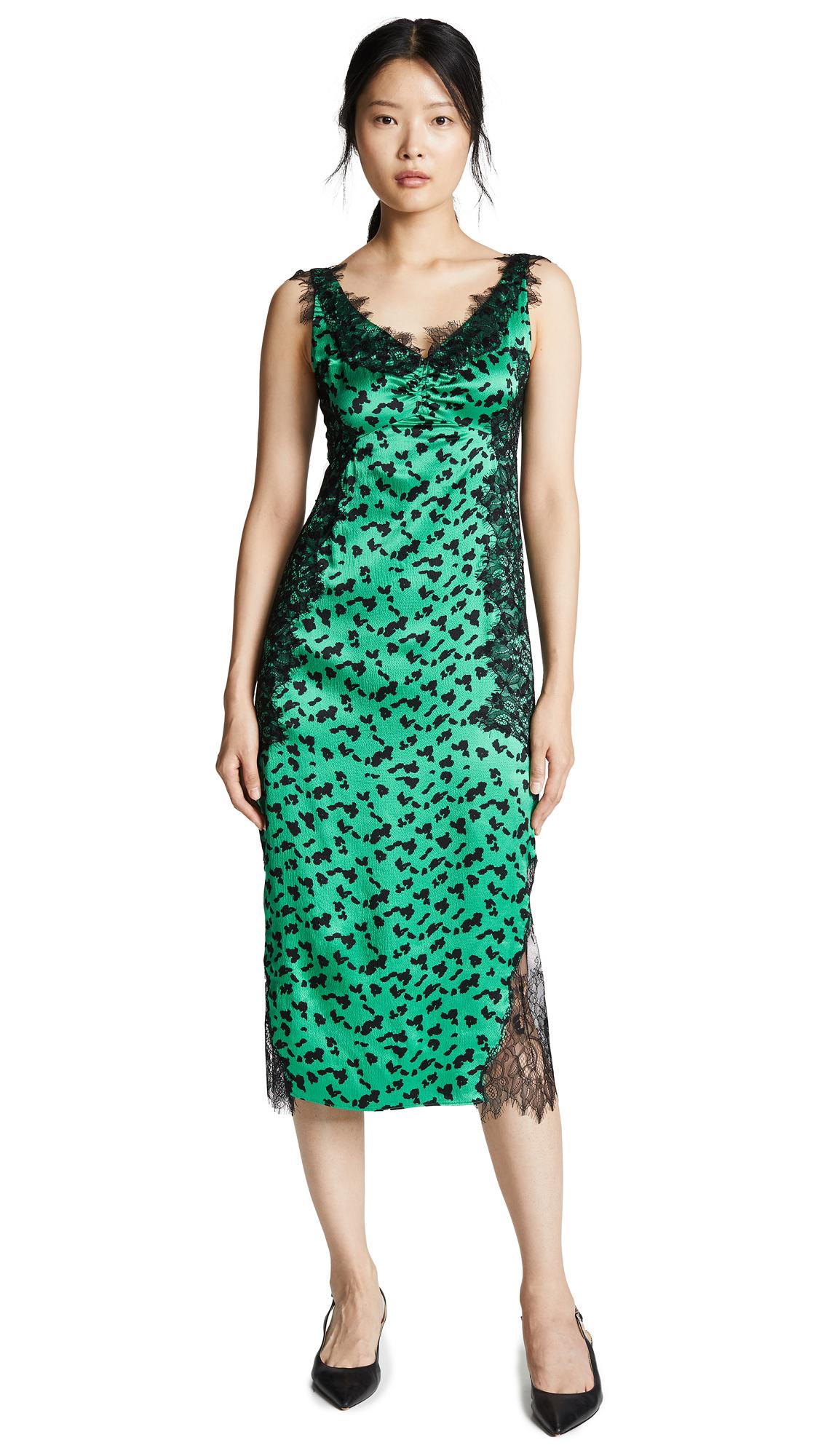 TANYA TAYLOR Irina Printed Silk Midi Dress With Lace Trim in Green