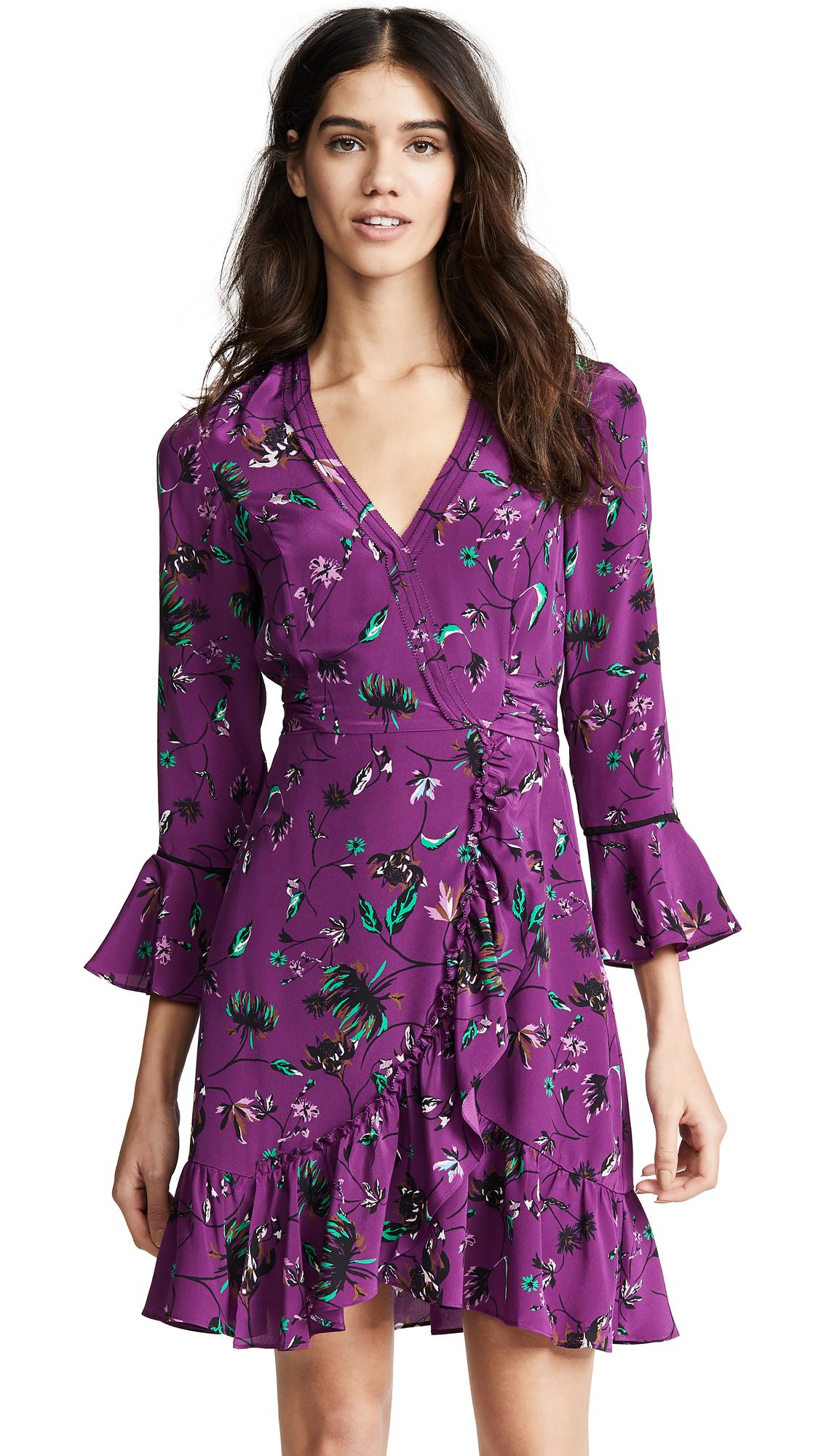 TANYA TAYLOR Nomi Vines Print Faux Wrap Silk Dress in Purple
