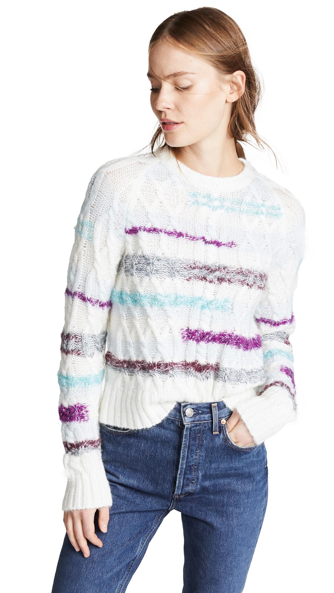 TANYA TAYLOR Lora Stripe Cable Knit Sweater in Cream Multi