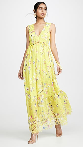 560f97e0d6b Tanya Taylor Catalina Floral-Print V-Neck Sleeveless Maxi Dress In Floral  Yellow