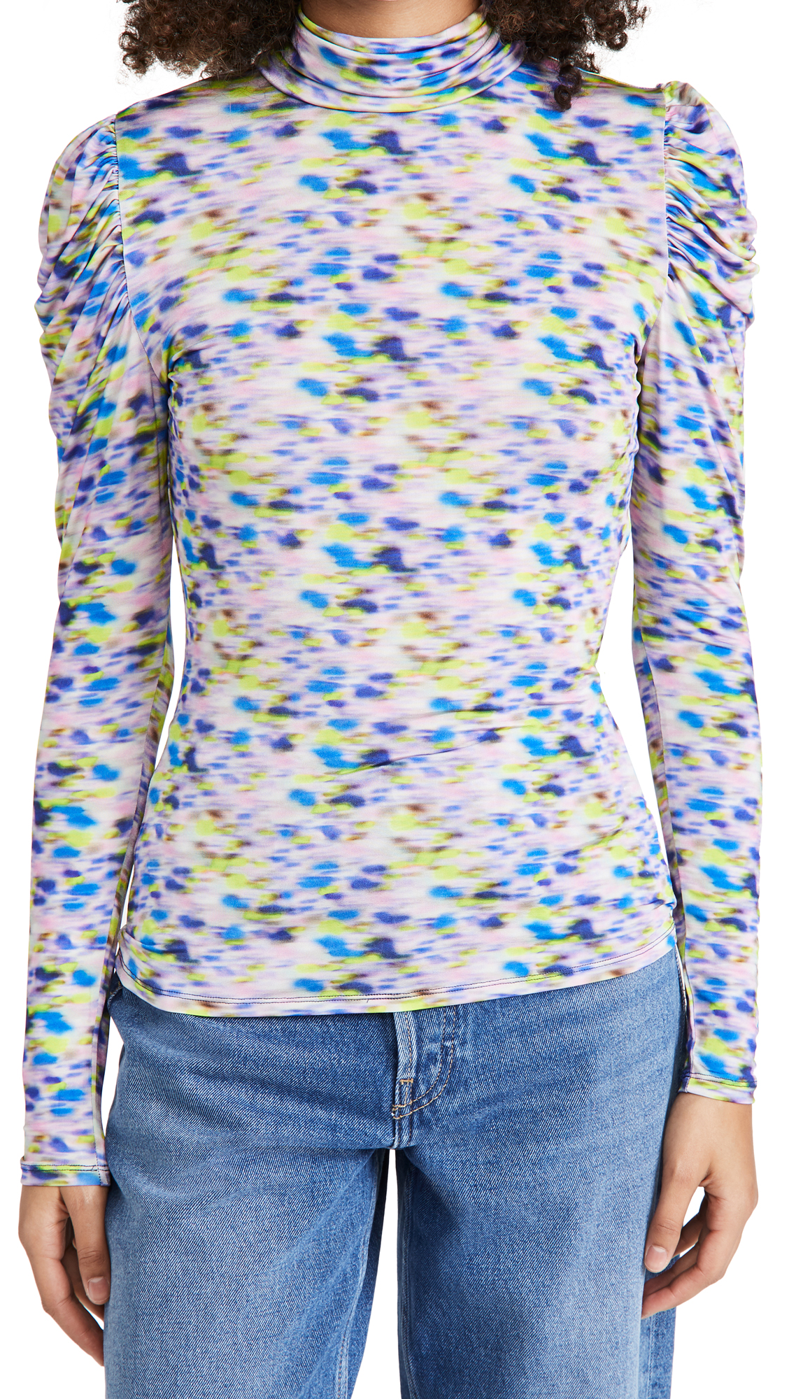 Tanya Taylor Women's Adonica Long-sleeve Turtleneck Printed Top In Baja Blue Haze Blue Multi