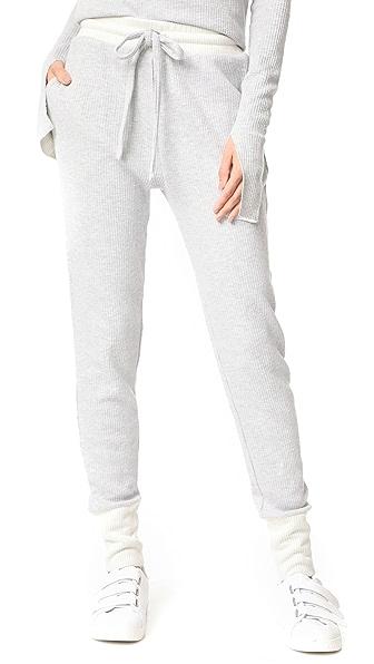 Twenty Tees Frazier Rib Jogger Pants - Light Grey/Ecru