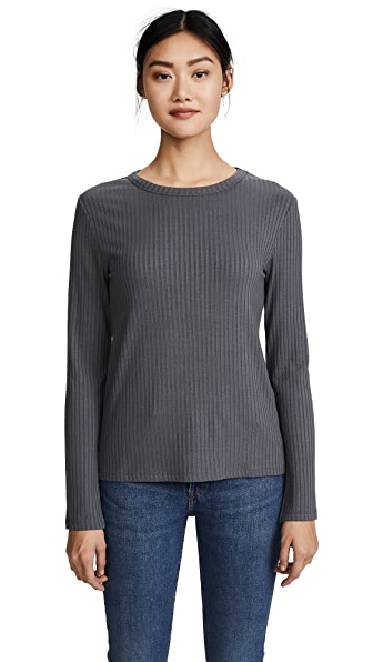 Twenty Tees Sherbrooke Ribbed Crew Neck Top In Solid Pewter