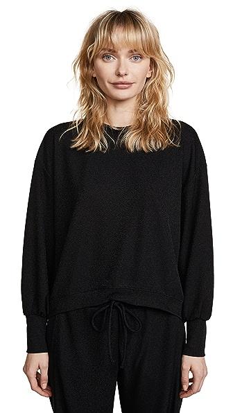 Twenty Tees Kent Crepe Cropped Sweatshirt In Black