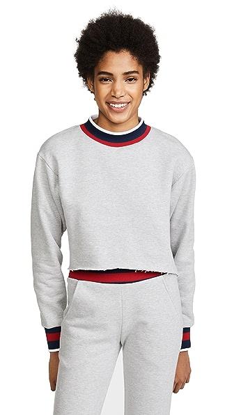 Twenty Tees Varsity Ringer Cropped Sweatshirt In Heather Grey/Navy/Red
