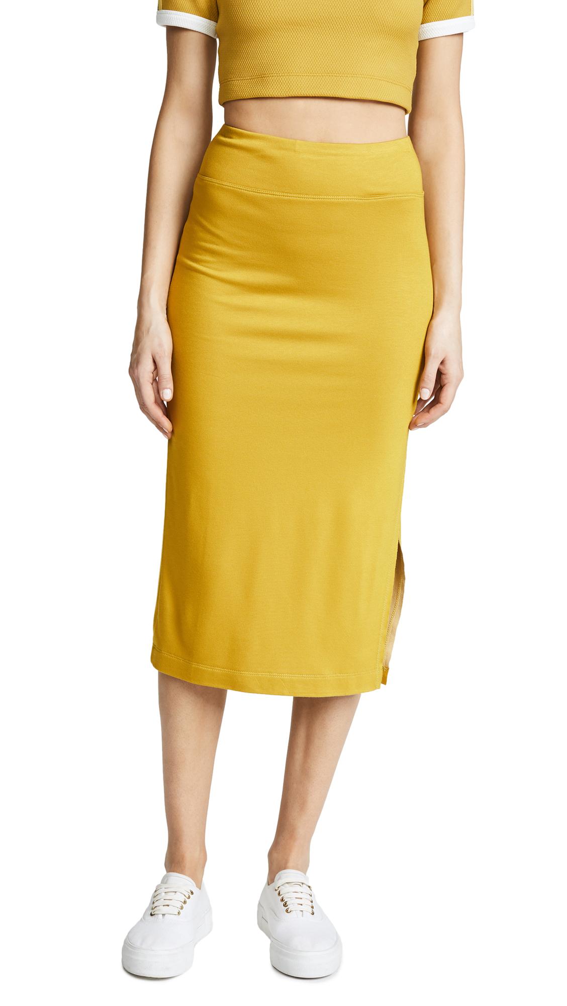 Drummond Plated Pencil Skirt, Mustard/White