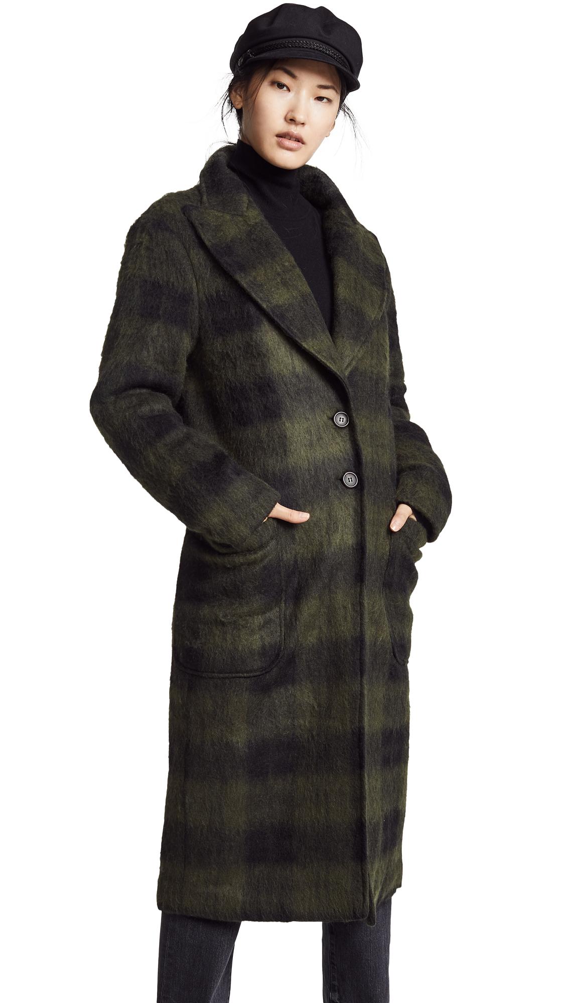 Walker Plaid Long Coat, Green