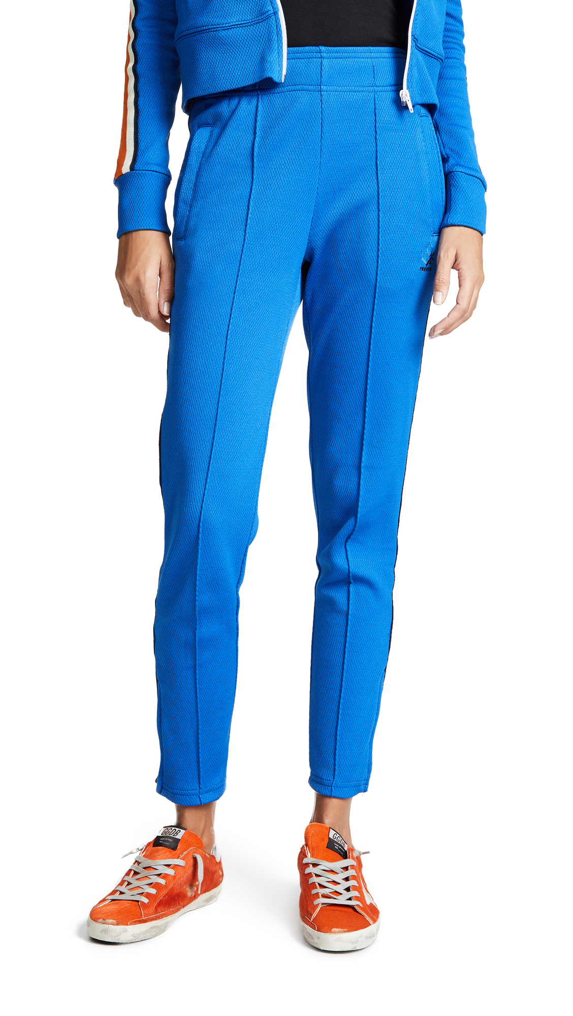 TWENTY MONTREAL Olympic Mesh Zip Ankle Track Pants - Cobalt/Orange