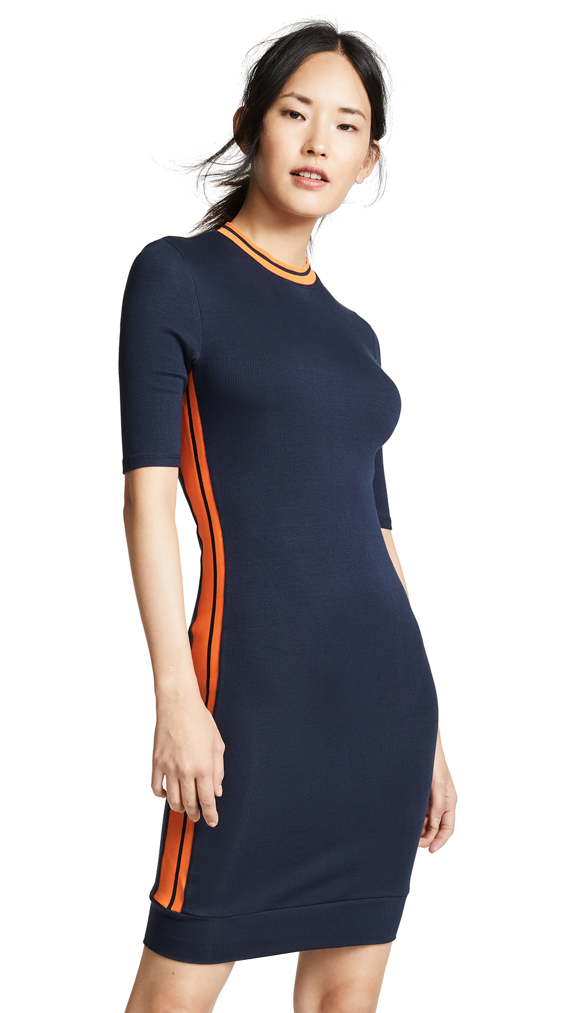 TWENTY MONTREAL Ribbed Ringer Dress - Navy/Orange