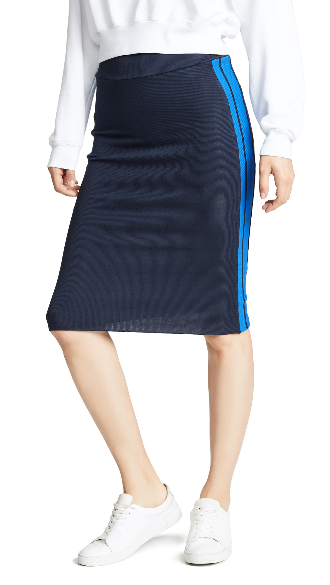 TWENTY MONTREAL Ribbed Racer Pencil Skirt - Navy/Cobalt