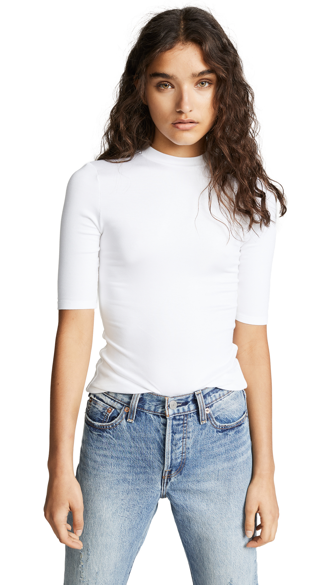 Mackay Ribbed Elbow Sleeve Top in White