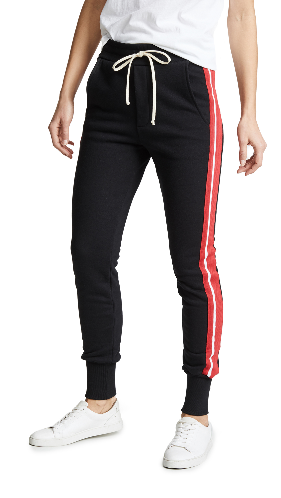 Pride Terry Varsity Stripe Slim Sweats in Jet Black