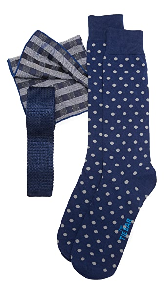 The Tie Bar Navy Knit Silk Tie Set