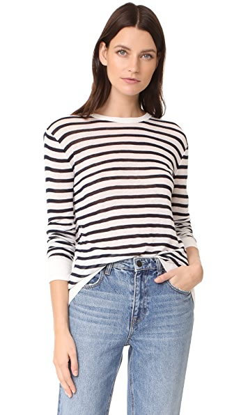 T by Alexander Wang Striped Rayon Linen Tee