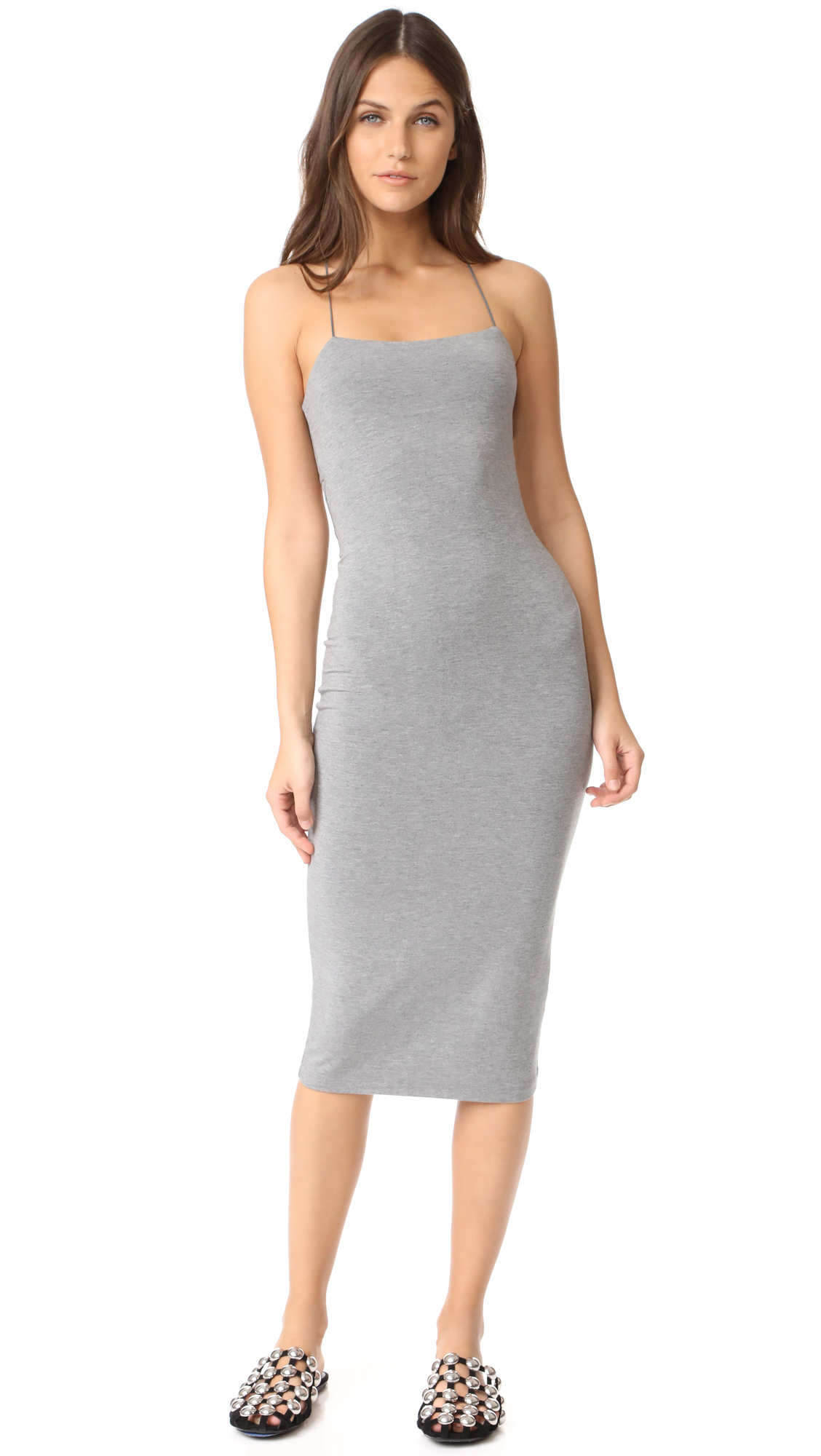 T by Alexander Wang Strappy Tank Dress - Heather Grey