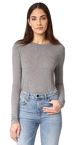 T by Alexander Wang Classic Cropped Long Sleeve Tee - Heather Grey