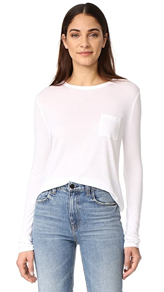 T by Alexander Wang Classic Cropped Long Sleeve Tee In White