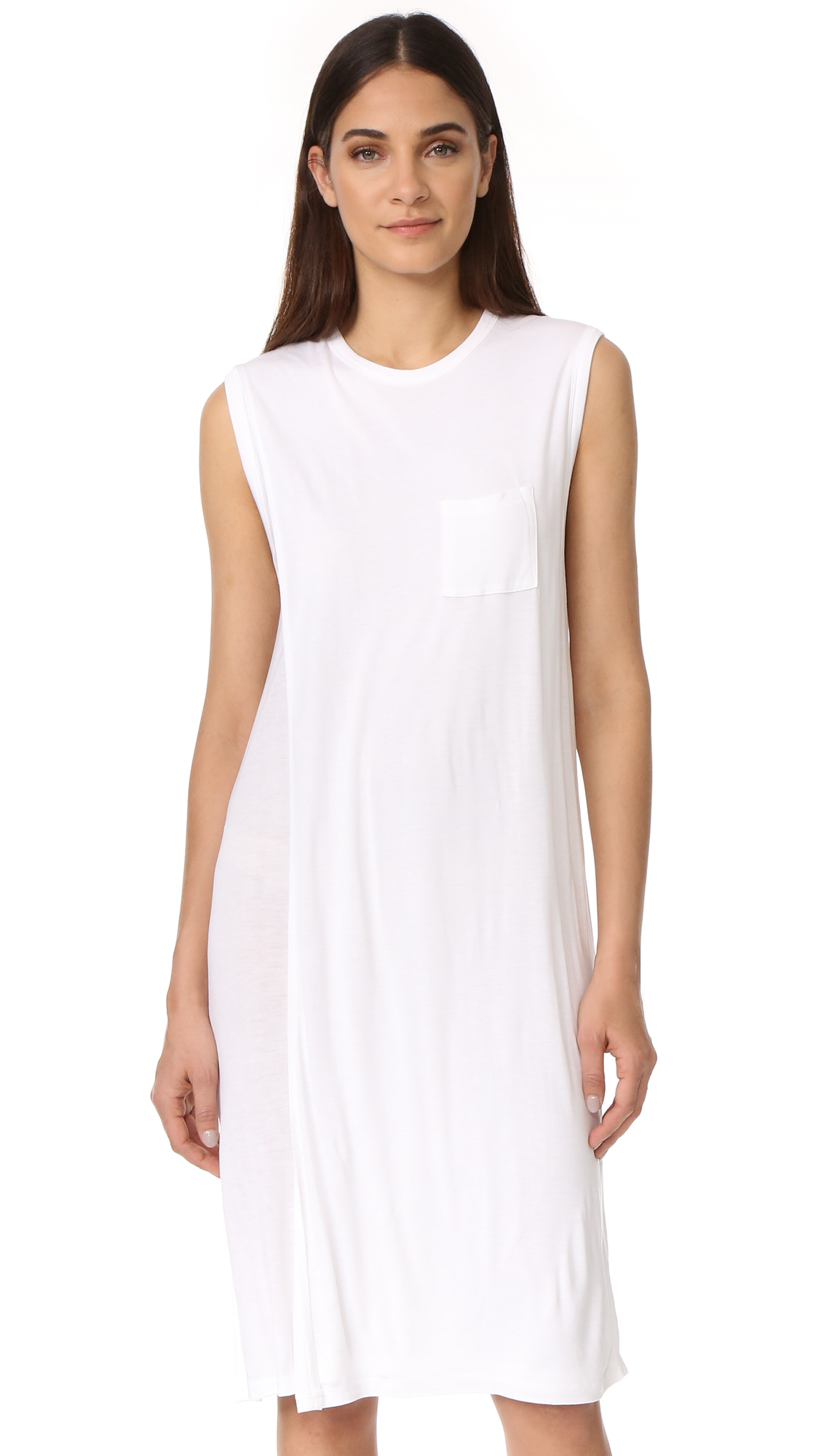 T by Alexander Wang Classic Overlap Dress with Pocket - White