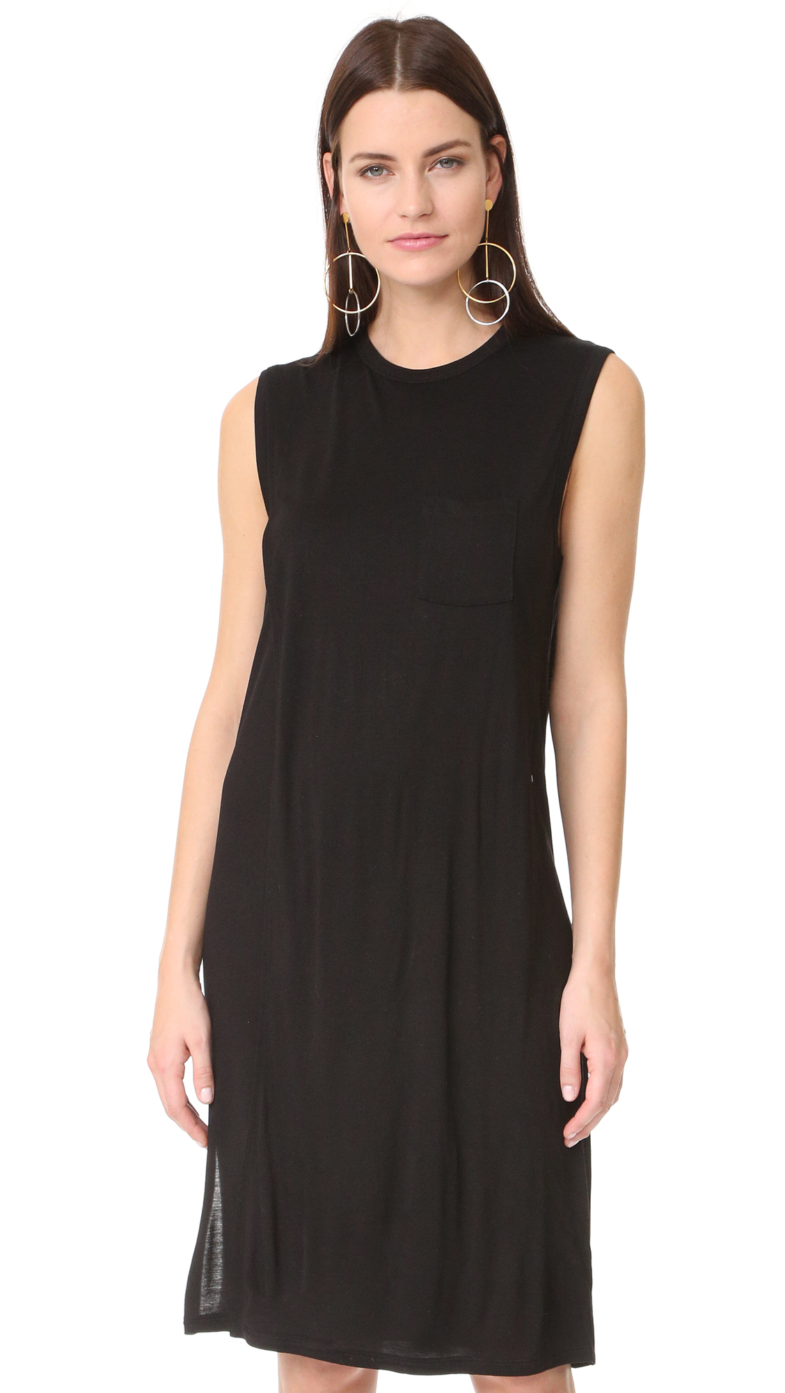 T by Alexander Wang Classic Overlap Dress with Pocket - Black