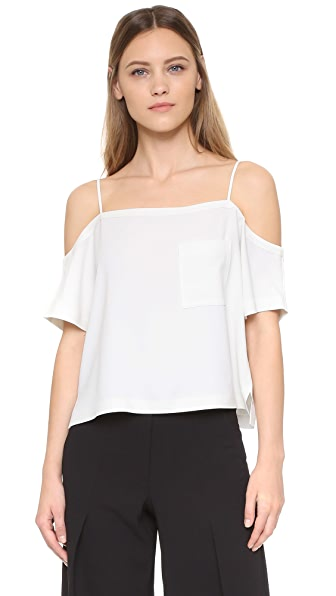 T by Alexander Wang Crepe Off the Shoulder Top - Ivory