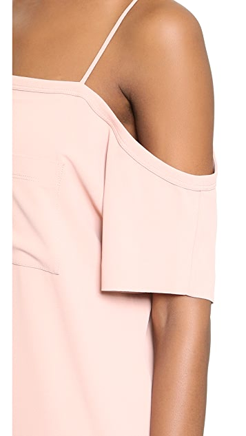 T by Alexander Wang Crepe Off the Shoulder Dress