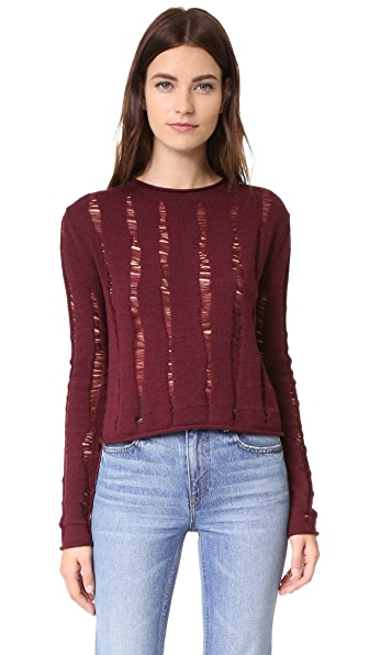 T by Alexander Wang Dropped Needle Merino Cropped Pullover