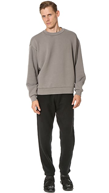 T by Alexander Wang Fleece Oversized Crew Neck Sweatshirt