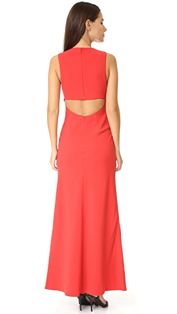 T by Alexander Wang Crepe Exposed Back Maxi Dress