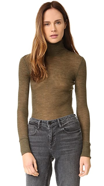 T by Alexander Wang Wooly Ribbed Fitted Turtleneck