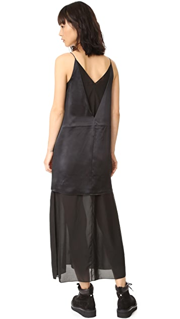 T by Alexander Wang Charmeuse Cami Chiffon Slip Dress