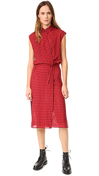 T by Alexander Wang Checkered Gauze Wrap Dress