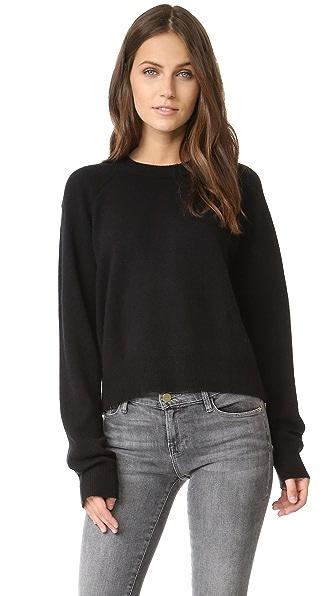 T by Alexander Wang Cashwool Crop Sweater - Black