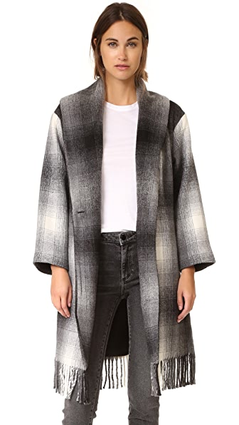T by Alexander Wang Fringed Blanket Shawl Collar Coat