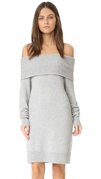 T by Alexander Wang Cashwool Off Shoulder Dress - Heather Grey