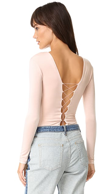 T by Alexander Wang Lace Up Long Sleeve Bodysuit