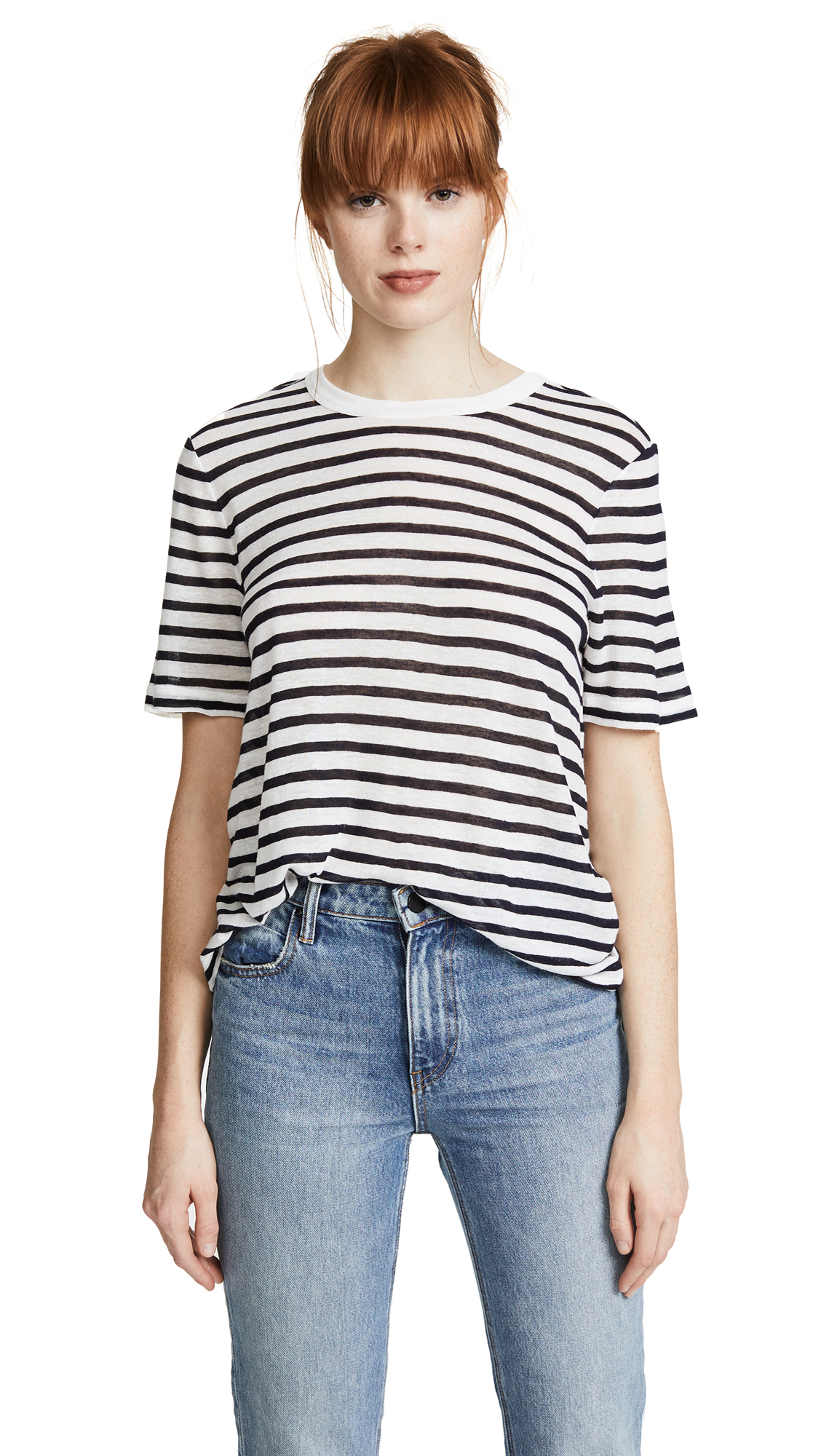 T by Alexander Wang Stripe Cropped Tee - Ink And Ivory